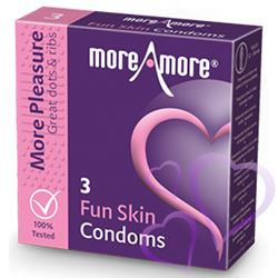MoreAmore - Kondomi, Fun Skin, 3 kpl