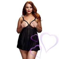 Baci - Black Sheer Babydoll & Open Cup Bra, Queen size / E27059.jpg