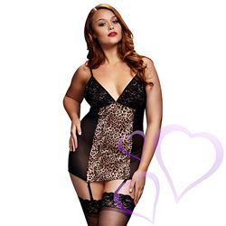 Baci - Leopard Basque & Garter Stays No Panty, Queen Size / E27069.jpg
