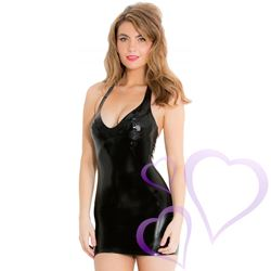 Mini Halter Latex Dress / HNR-R1376.BLKS.jpg